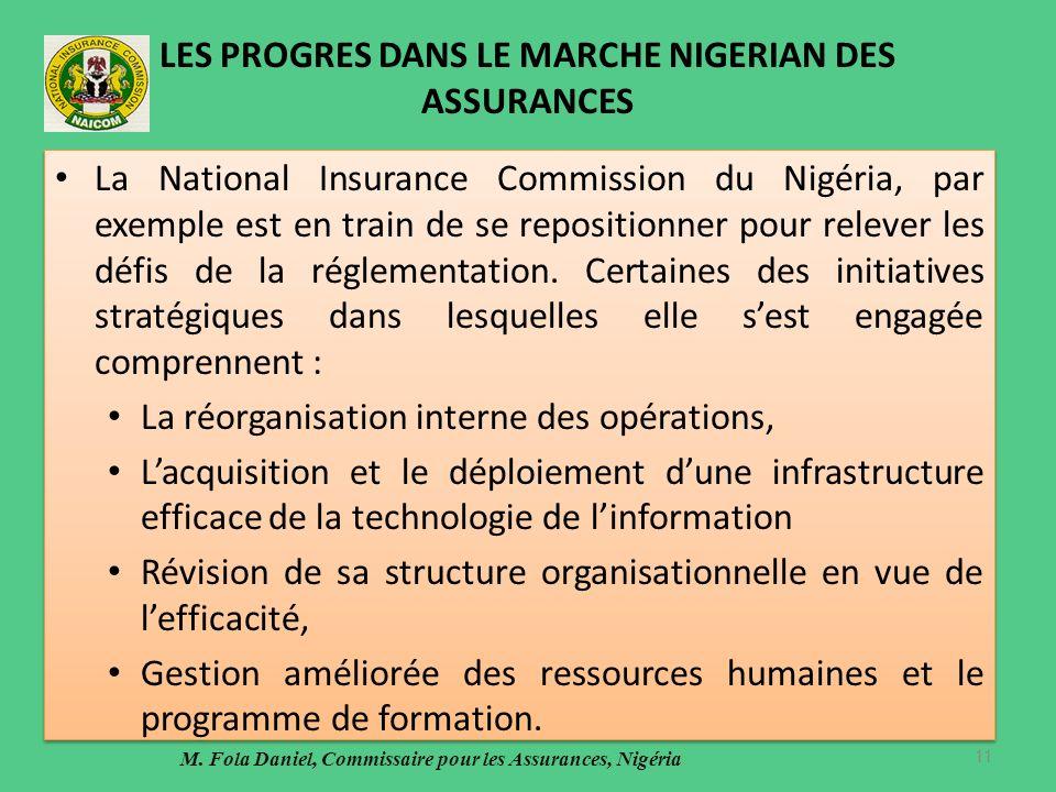 LES PROGRES DANS LE MARCHE NIGERIAN DES ASSURANCES La National Insurance Commission du Nigéria, par exemple est en train de se repositionner pour relever les défis de la réglementation.