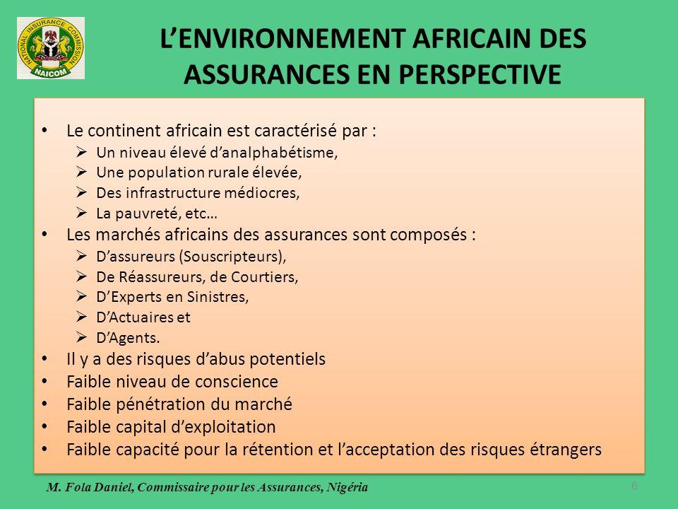 LENVIRONNEMENT AFRICAIN DES ASSURANCES EN PERSPECTIVE Le continent africain est caractérisé par : Un niveau élevé danalphabétisme, Une population rurale élevée, Des infrastructure médiocres, La pauvreté, etc… Les marchés africains des assurances sont composés : Dassureurs (Souscripteurs), De Réassureurs, de Courtiers, DExperts en Sinistres, DActuaires et DAgents.
