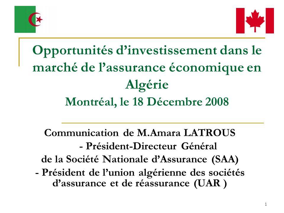 2 Le marché algérien de lassurance Le marché algérien des assurance offre beaucoup dopportunités aux investisseurs locaux et étrangers: cadre législatif et réglementaire attrayant, potentialités énormes au regard du potentiel économique du pays, ressources humaines disponibles et bien formées, etc.