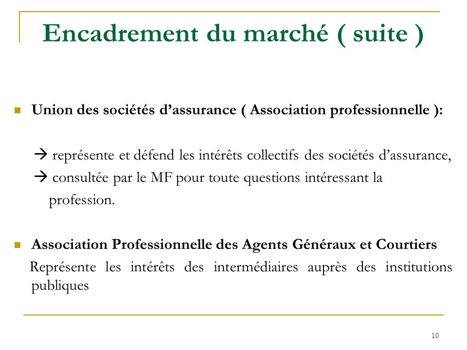 10 Encadrement du marché ( suite ) Union des sociétés dassurance ( Association professionnelle ): représente et défend les intérêts collectifs des soc
