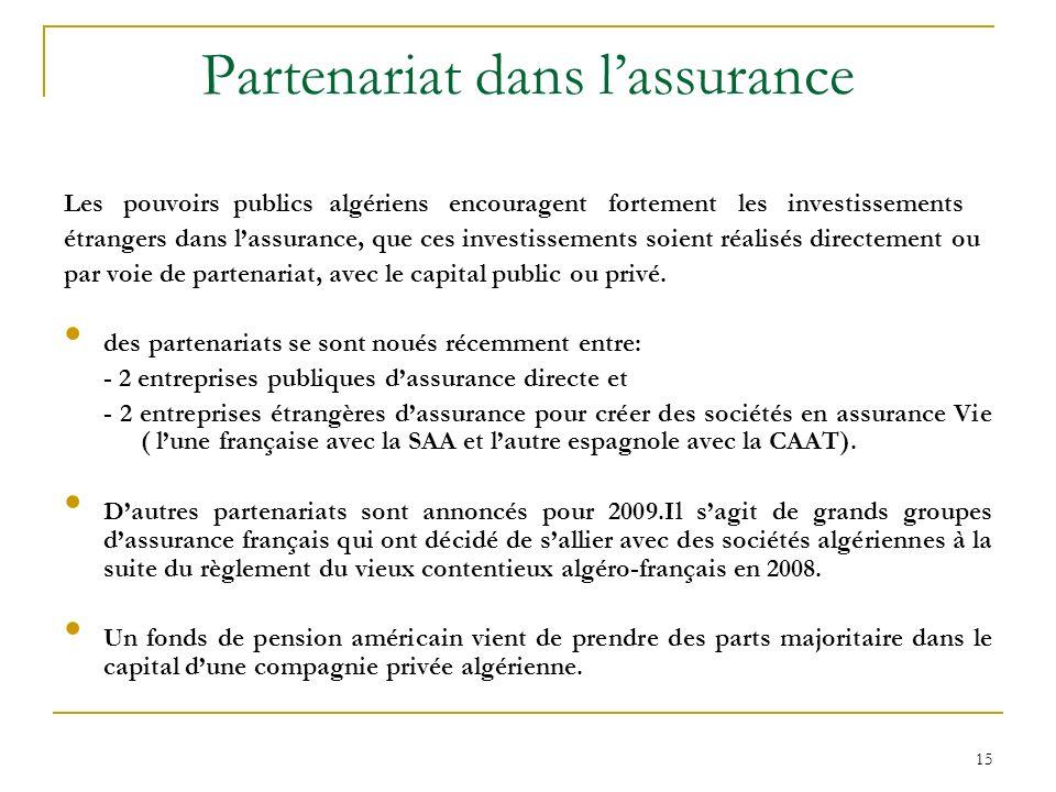 15 Partenariat dans lassurance Les pouvoirs publics algériens encouragent fortement les investissements étrangers dans lassurance, que ces investissem