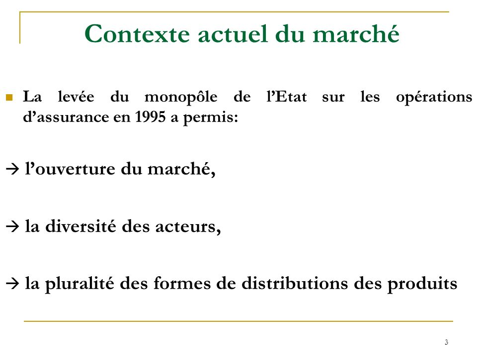 3 Contexte actuel du marché La levée du monopôle de lEtat sur les opérations dassurance en 1995 a permis: louverture du marché, la diversité des acteu
