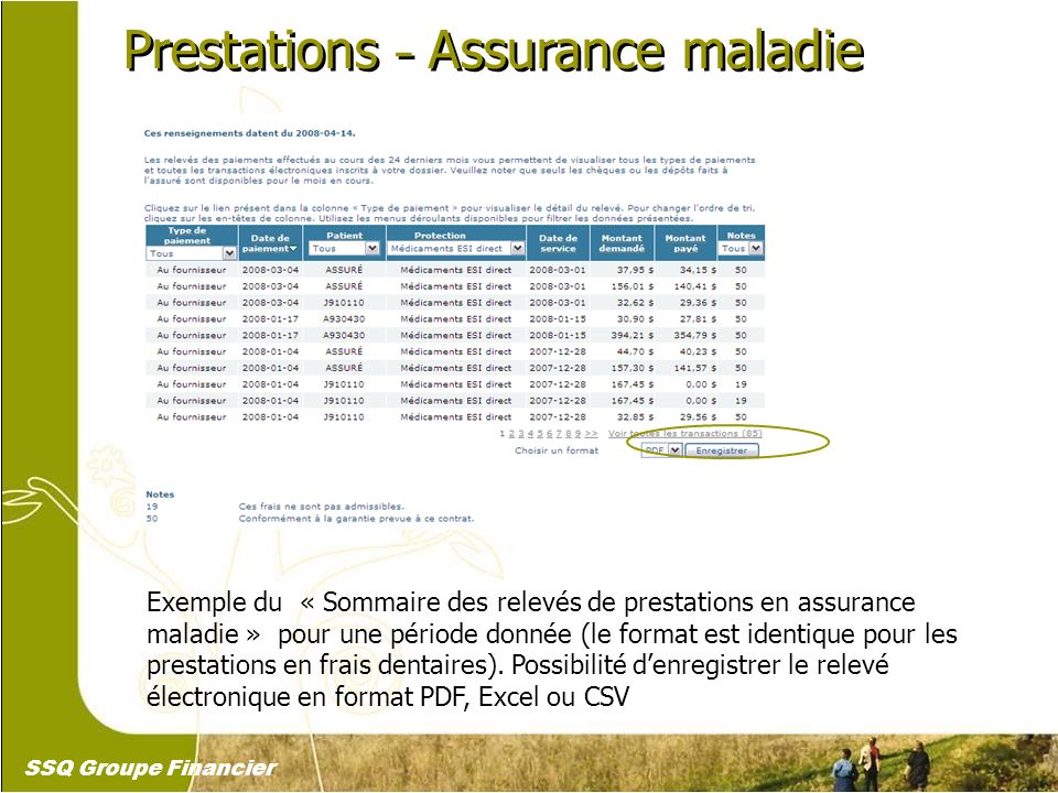 21 Prestations – Assurance maladie Exemple du « Sommaire des relevés de prestations en assurance maladie » pour une période donnée (le format est iden
