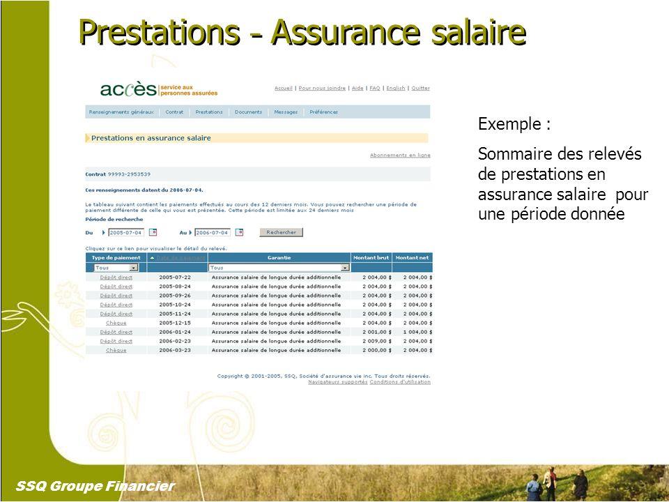 22 Prestations – Assurance salaire Exemple : Sommaire des relevés de prestations en assurance salaire pour une période donnée SSQ Groupe Financier