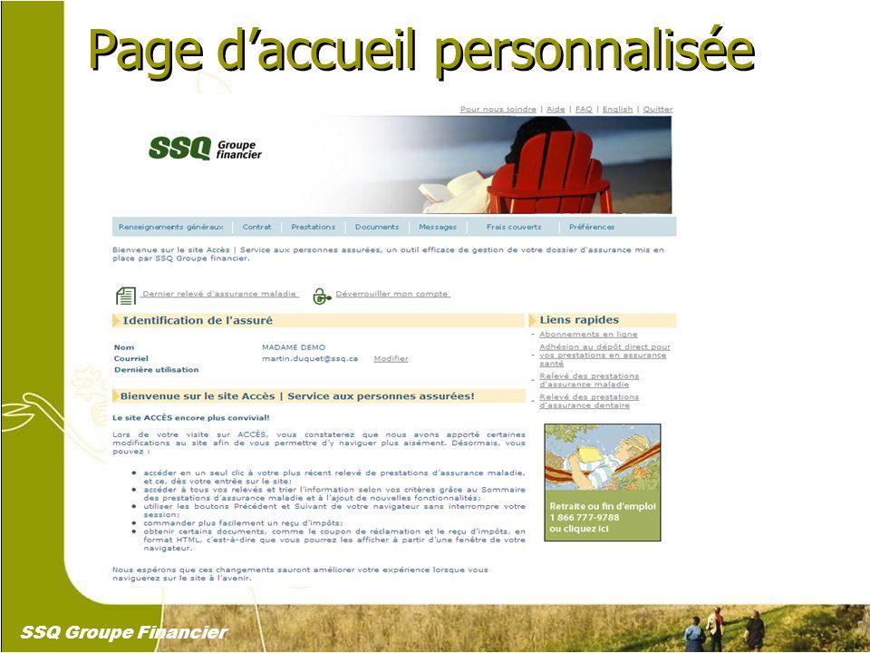 4 Page daccueil personnalisée SSQ Groupe Financier