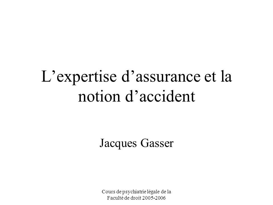 Cours de psychiatrie légale de la Faculté de droit 2005-2006 Lexpertise dassurance et la notion daccident Jacques Gasser