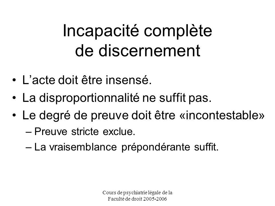 Cours de psychiatrie légale de la Faculté de droit 2005-2006 Incapacité complète de discernement Lacte doit être insensé.