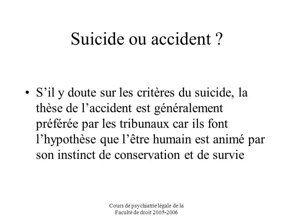 Cours de psychiatrie légale de la Faculté de droit 2005-2006 Suicide ou accident .