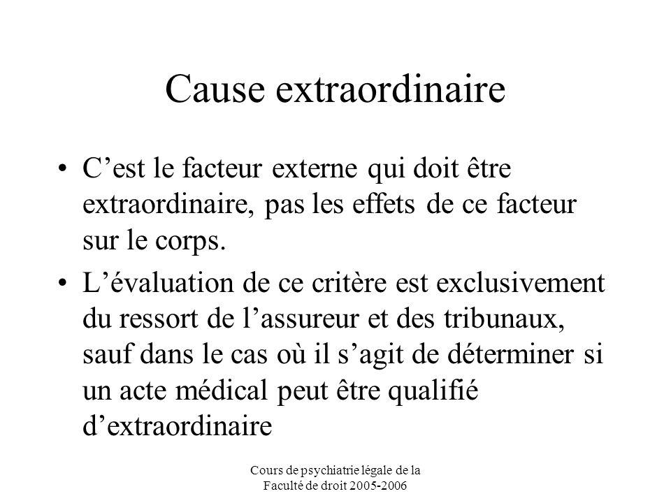 Cours de psychiatrie légale de la Faculté de droit 2005-2006 Cause extraordinaire Cest le facteur externe qui doit être extraordinaire, pas les effets de ce facteur sur le corps.
