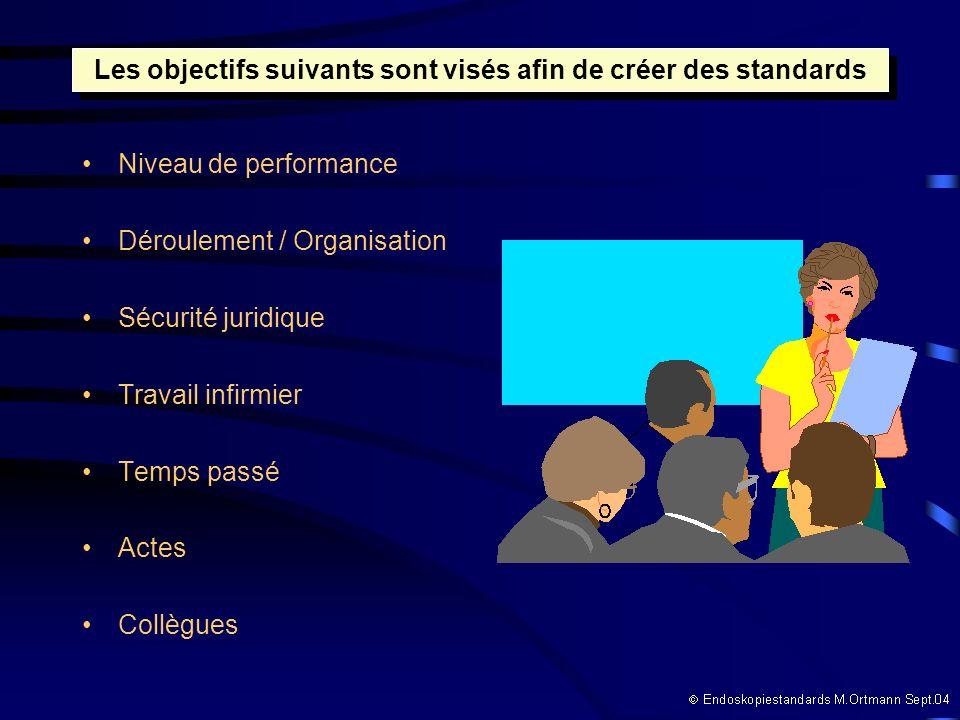 Niveau de performance Déroulement / Organisation Sécurité juridique Travail infirmier Temps passé Actes Collègues Les objectifs suivants sont visés afin de créer des standards