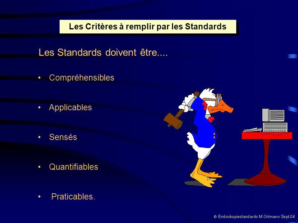 Compréhensibles Applicables Sensés Quantifiables Praticables. Les Critères à remplir par les Standards Les Standards doivent être....