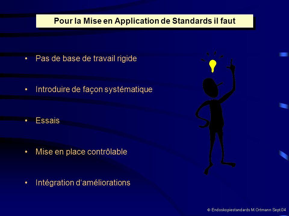 Pas de base de travail rigide Introduire de façon systématique Essais Mise en place contrôlable Intégration daméliorations Pour la Mise en Application de Standards il faut