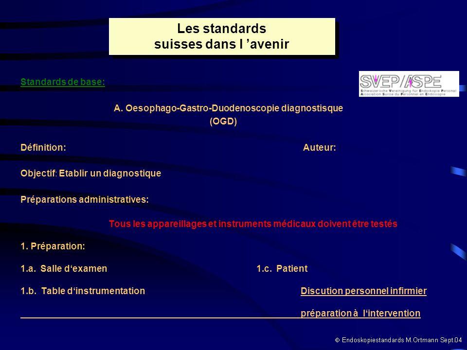 Standards de base: A. Oesophago-Gastro-Duodenoscopie diagnostisque (OGD) Définition: Auteur: Objectif: Etablir un diagnostique Préparations administra