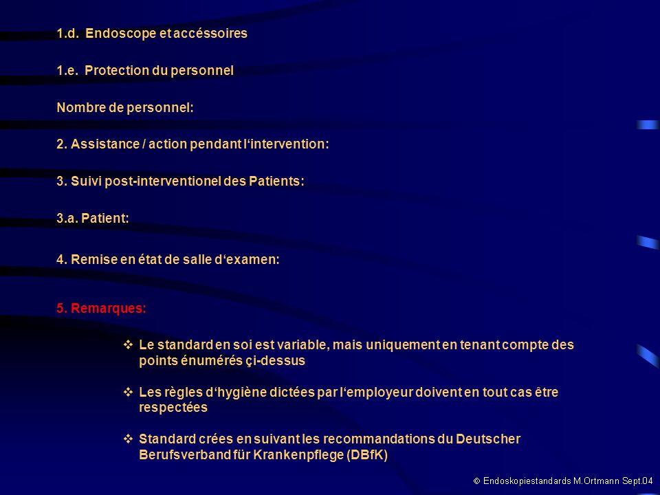 1.d. Endoscope et accéssoires 1.e. Protection du personnel Nombre de personnel: 2. Assistance / action pendant lintervention: 3. Suivi post-interventi