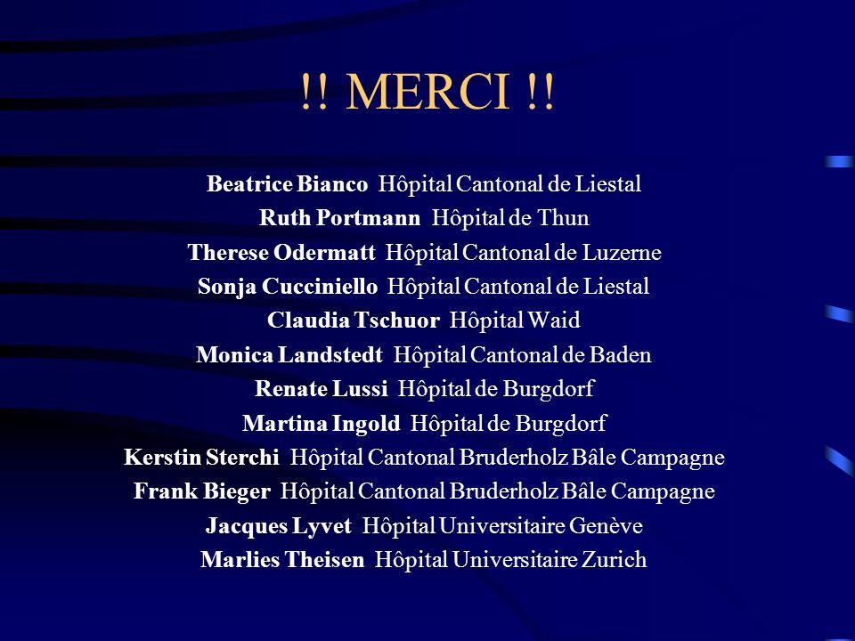 !! MERCI !! Beatrice Bianco Hôpital Cantonal de Liestal Ruth Portmann Hôpital de Thun Therese Odermatt Hôpital Cantonal de Luzerne Sonja Cucciniello H