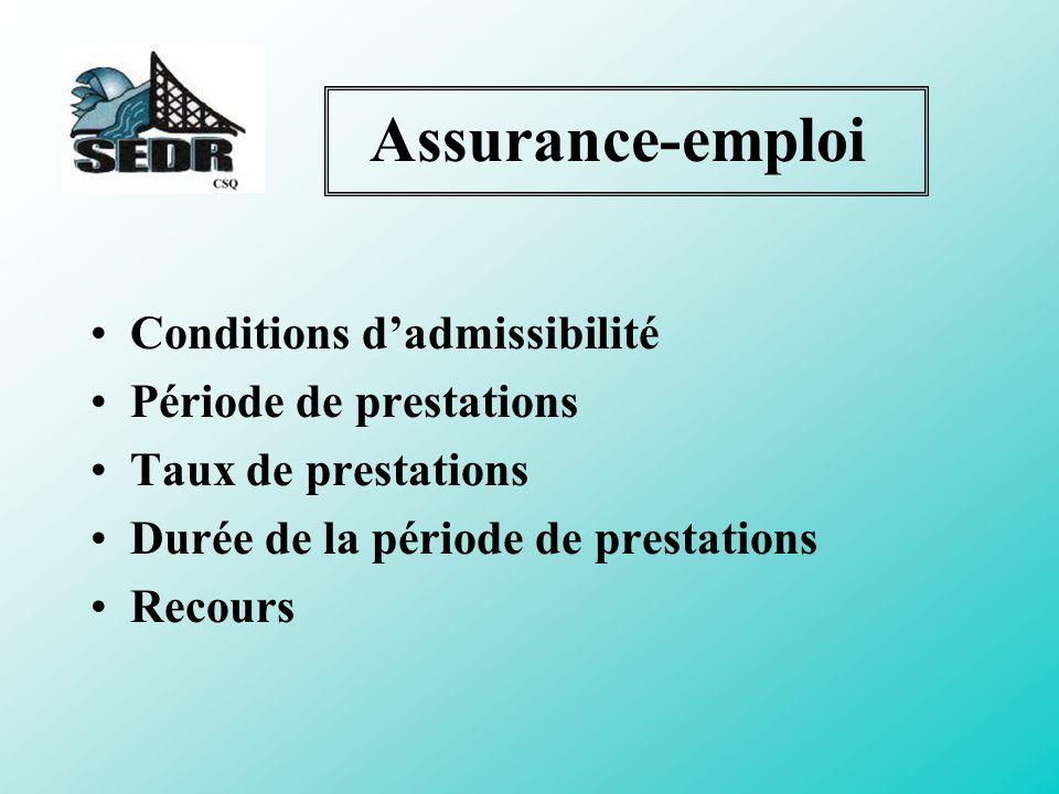 Conditions d admissibilité –Emploi assurable –Arrêt de rémunération –Nombre d heures