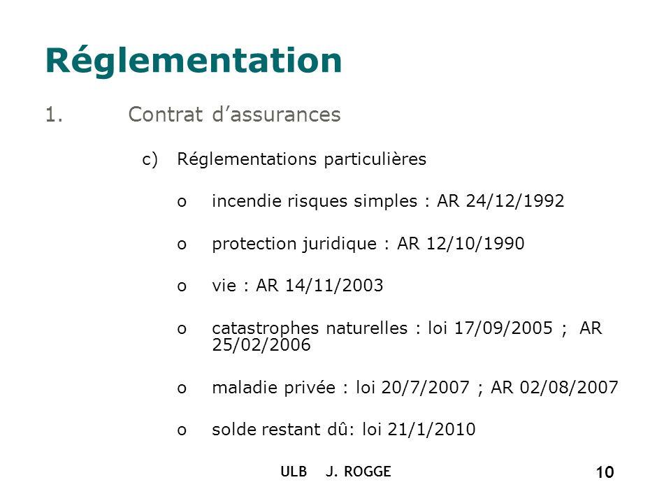 ULB J. ROGGE 10 Réglementation 1.Contrat dassurances c)Réglementations particulières oincendie risques simples : AR 24/12/1992 oprotection juridique :