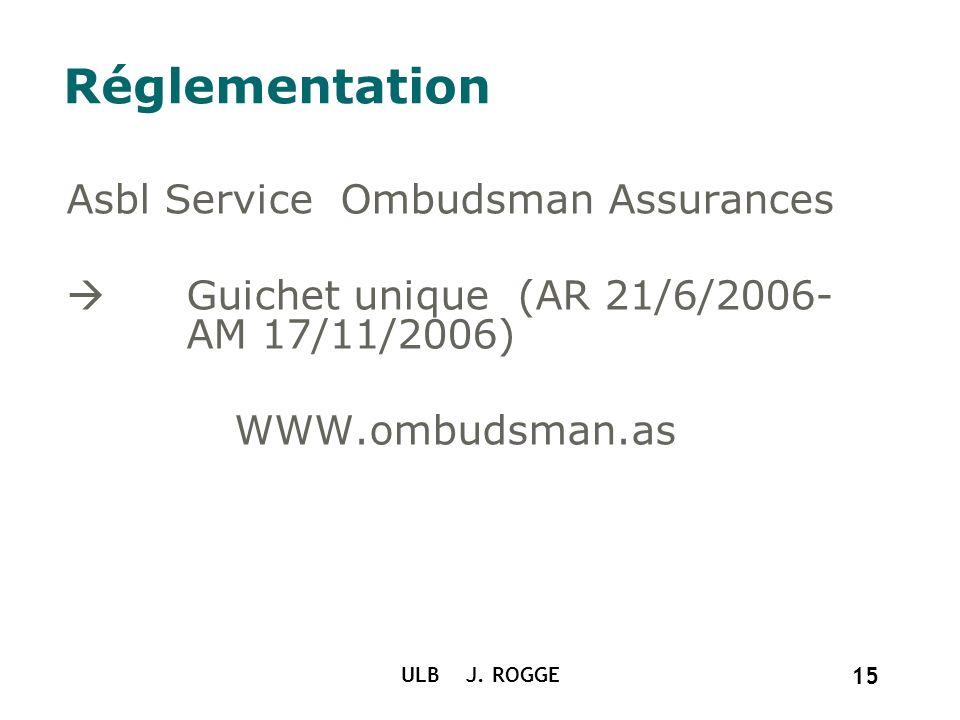 Réglementation Asbl Service Ombudsman Assurances Guichet unique (AR 21/6/2006- AM 17/11/2006) WWW.ombudsman.as ULB J. ROGGE 15