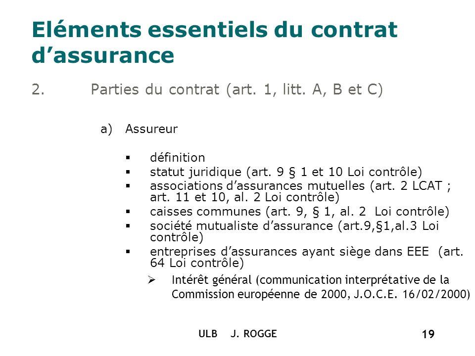 ULB J. ROGGE 19 Eléments essentiels du contrat dassurance 2.Parties du contrat (art. 1, litt. A, B et C) a)Assureur définition statut juridique (art.