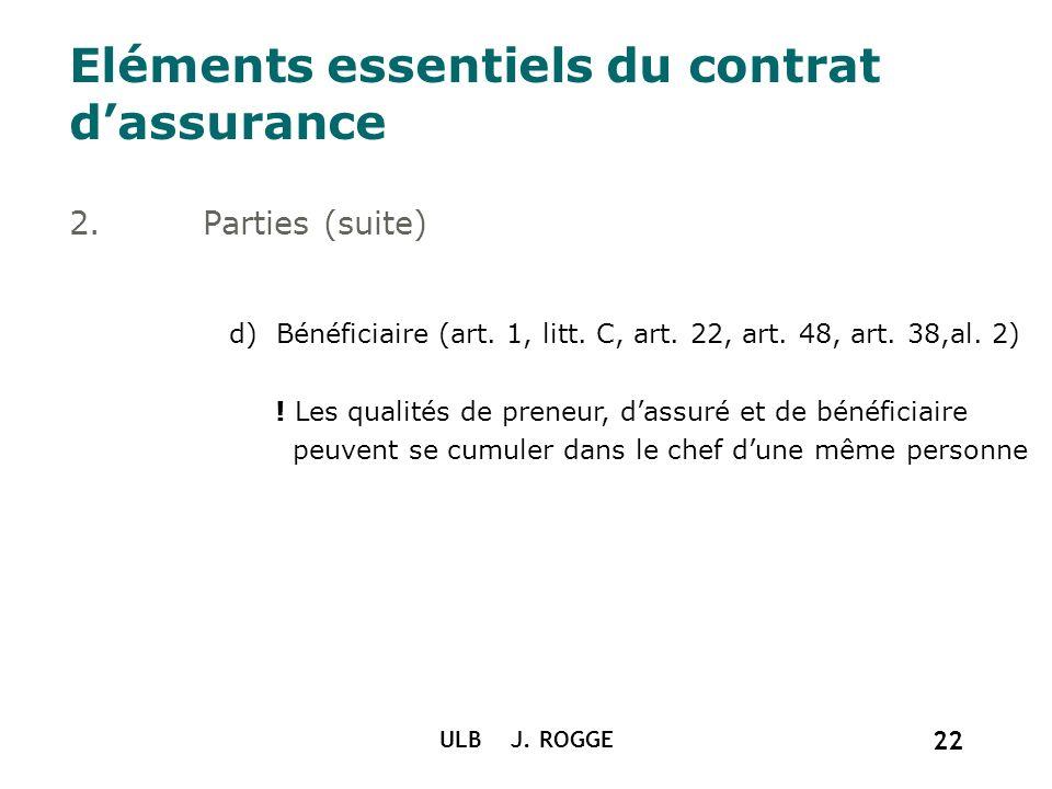 ULB J. ROGGE 22 Eléments essentiels du contrat dassurance 2. Parties (suite) d) Bénéficiaire (art. 1, litt. C, art. 22, art. 48, art. 38,al. 2) ! Les
