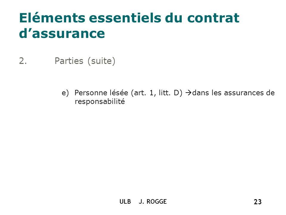 ULB J. ROGGE 23 Eléments essentiels du contrat dassurance 2.Parties (suite) e) Personne lésée (art. 1, litt. D) dans les assurances de responsabilité