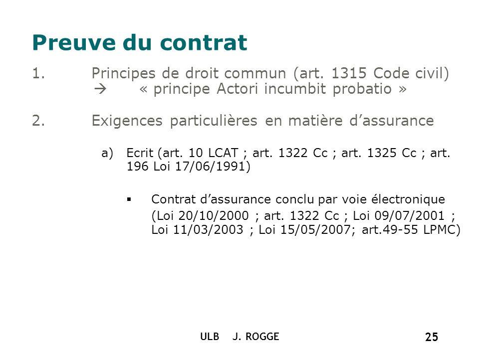 ULB J. ROGGE 25 Preuve du contrat 1.Principes de droit commun (art. 1315 Code civil) « principe Actori incumbit probatio » 2.Exigences particulières e
