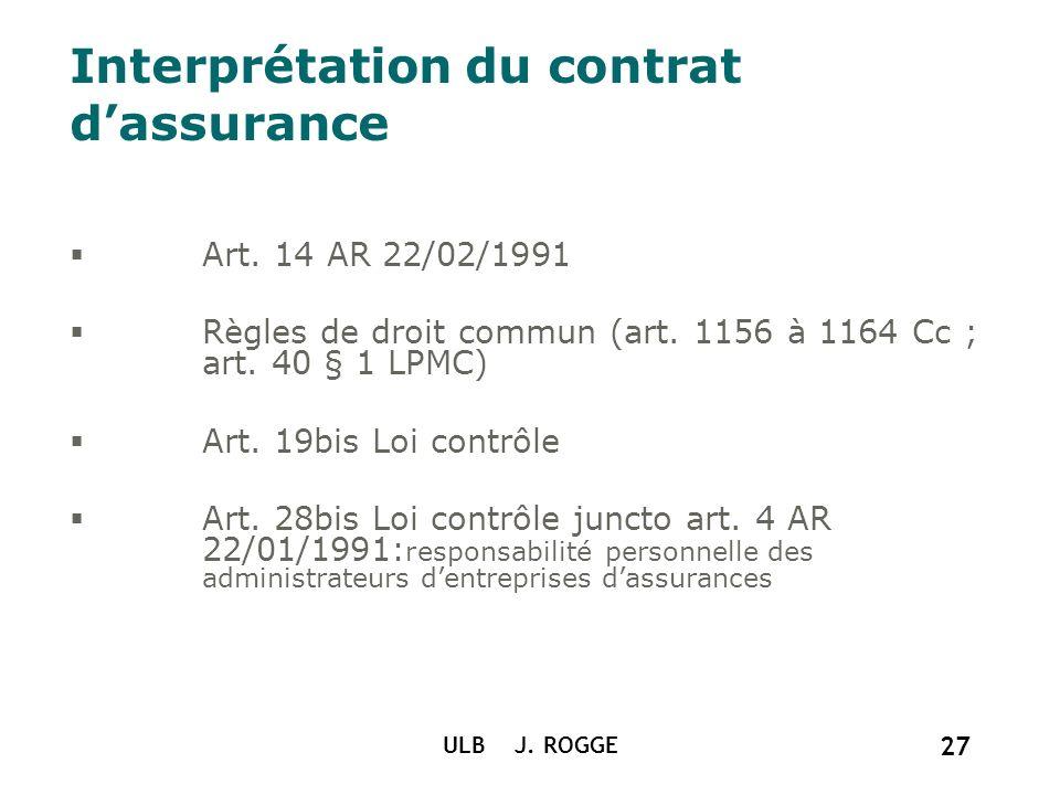 ULB J. ROGGE 27 Interprétation du contrat dassurance Art. 14 AR 22/02/1991 Règles de droit commun (art. 1156 à 1164 Cc ; art. 40 § 1 LPMC) Art. 19bis