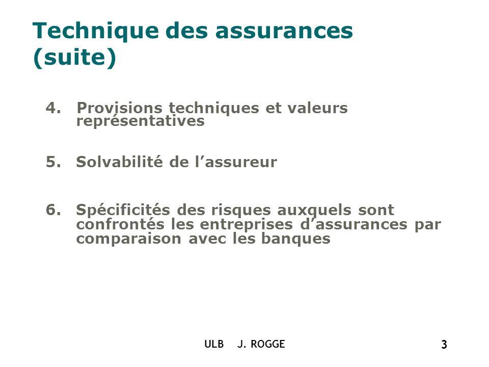ULB J. ROGGE 3 Technique des assurances (suite) 4. Provisions techniques et valeurs représentatives 5.Solvabilité de lassureur 6.Spécificités des risq
