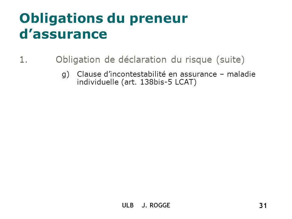ULB J. ROGGE 31 Obligations du preneur dassurance 1.Obligation de déclaration du risque (suite) g)Clause dincontestabilité en assurance – maladie indi