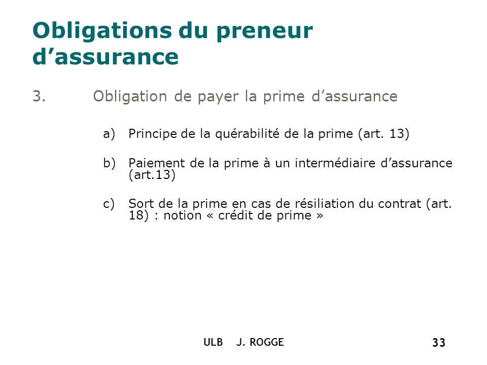 ULB J. ROGGE 33 Obligations du preneur dassurance 3.Obligation de payer la prime dassurance a)Principe de la quérabilité de la prime (art. 13) b)Paiem