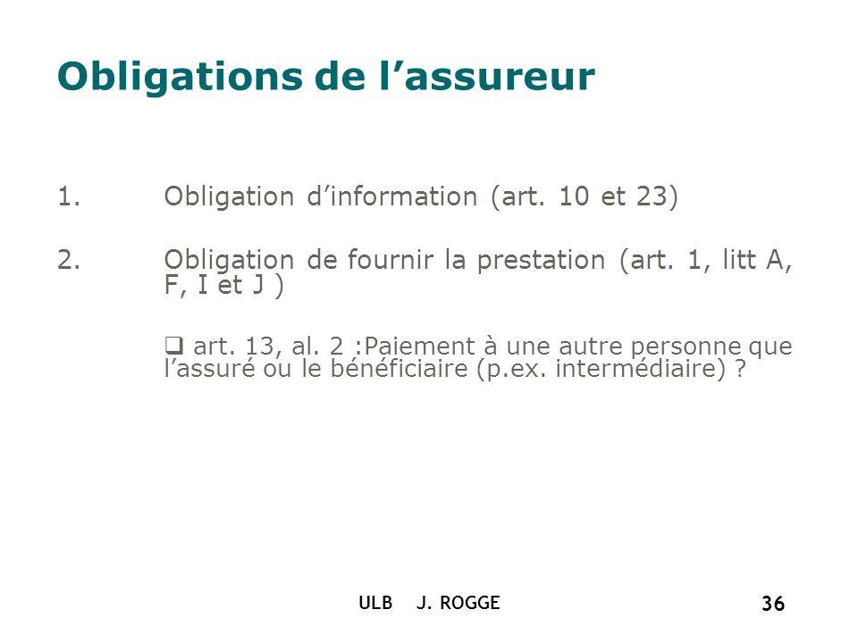 ULB J. ROGGE 36 Obligations de lassureur 1.Obligation dinformation (art. 10 et 23) 2.Obligation de fournir la prestation (art. 1, litt A, F, I et J )