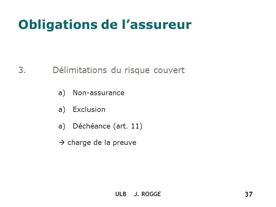 ULB J. ROGGE 37 Obligations de lassureur 3.Délimitations du risque couvert a)Non-assurance a)Exclusion a)Déchéance (art. 11) charge de la preuve