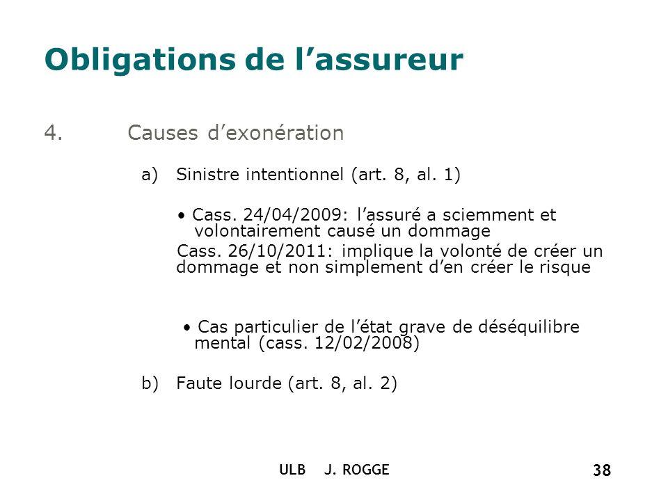 ULB J. ROGGE 38 Obligations de lassureur 4.Causes dexonération a)Sinistre intentionnel (art. 8, al. 1) Cass. 24/04/2009: lassuré a sciemment et volont