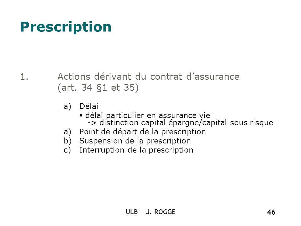 ULB J. ROGGE 46 Prescription 1.Actions dérivant du contrat dassurance (art. 34 §1 et 35) a)Délai délai particulier en assurance vie -> distinction cap