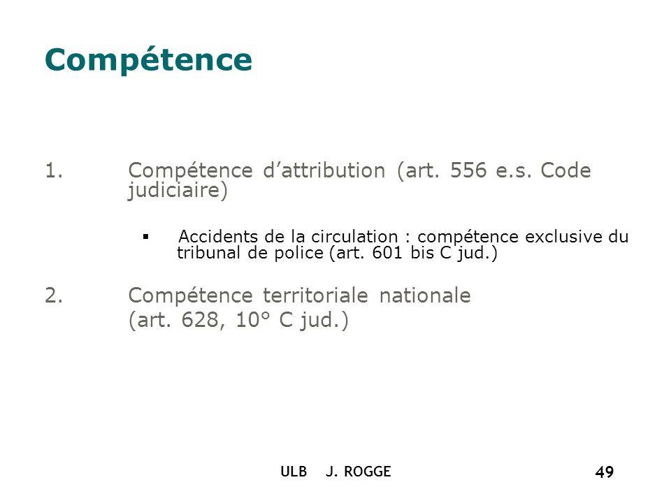 ULB J. ROGGE 49 Compétence 1.Compétence dattribution (art. 556 e.s. Code judiciaire) Accidents de la circulation : compétence exclusive du tribunal de