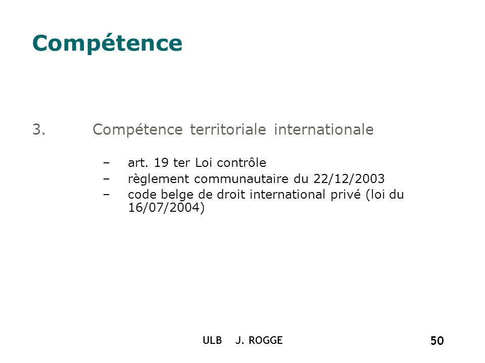 ULB J. ROGGE 50 Compétence 3.Compétence territoriale internationale –art. 19 ter Loi contrôle –règlement communautaire du 22/12/2003 –code belge de dr