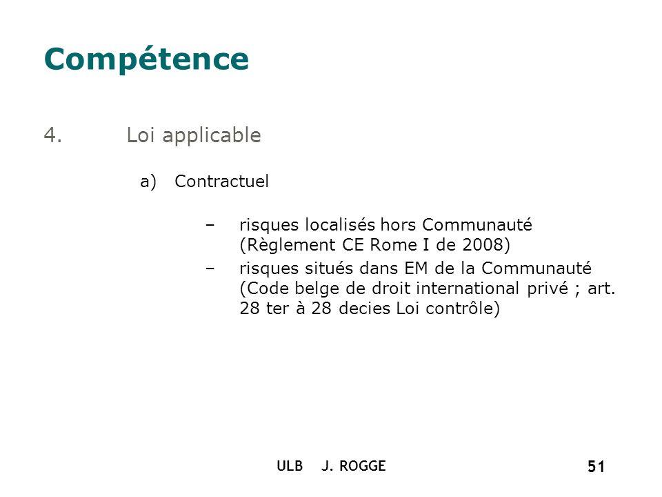 ULB J. ROGGE 51 Compétence 4.Loi applicable a)Contractuel –risques localisés hors Communauté (Règlement CE Rome I de 2008) –risques situés dans EM de