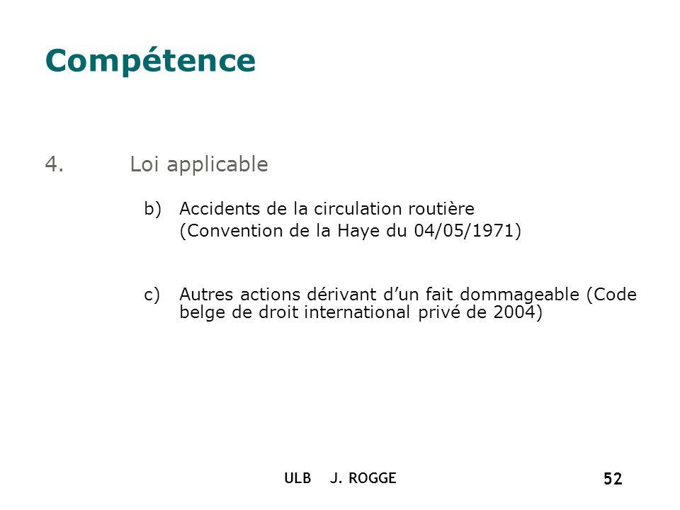 ULB J. ROGGE 52 Compétence 4.Loi applicable b)Accidents de la circulation routière (Convention de la Haye du 04/05/1971) c)Autres actions dérivant dun