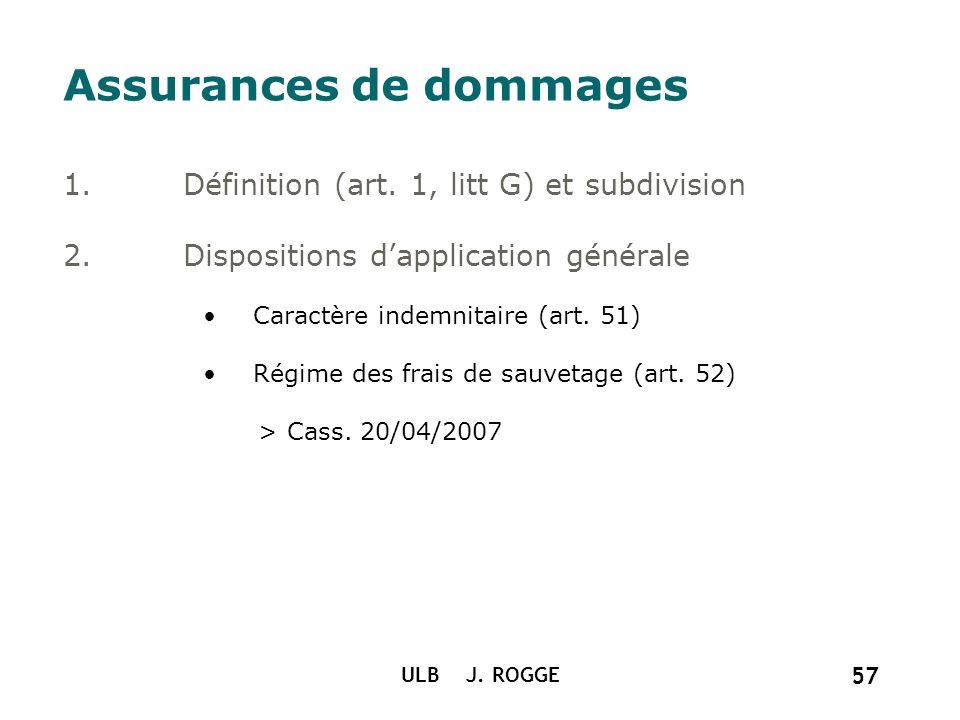 ULB J. ROGGE 57 Assurances de dommages 1.Définition (art. 1, litt G) et subdivision 2.Dispositions dapplication générale Caractère indemnitaire (art.