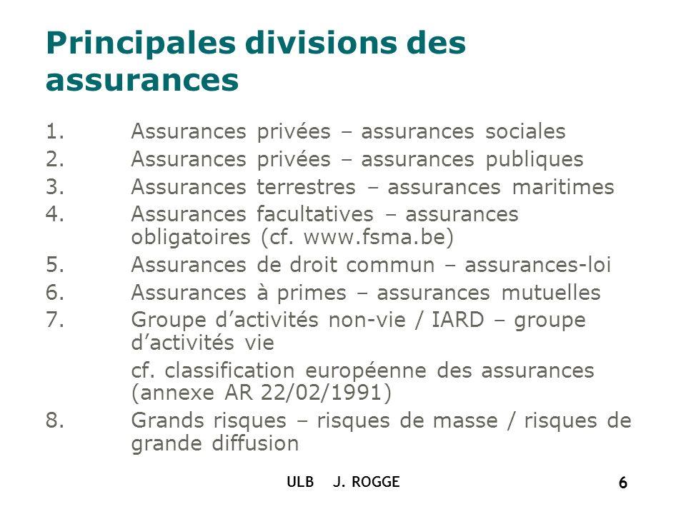 ULB J. ROGGE 6 1.Assurances privées – assurances sociales 2.Assurances privées – assurances publiques 3.Assurances terrestres – assurances maritimes 4