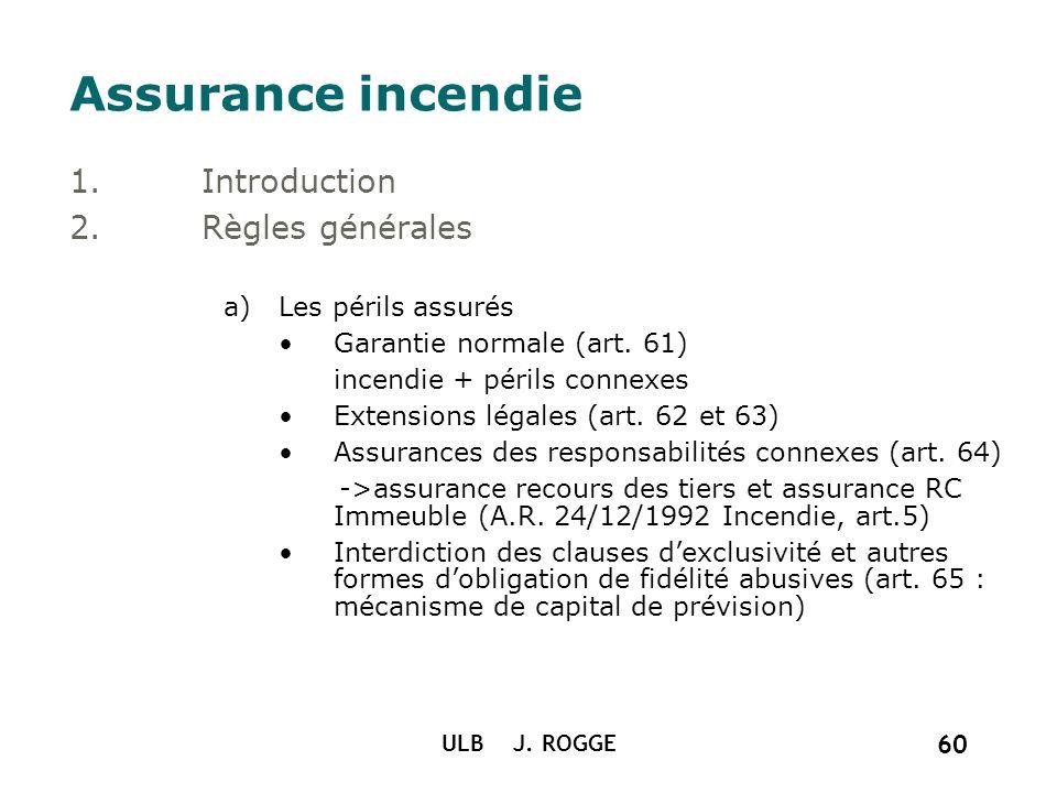 ULB J. ROGGE 60 Assurance incendie 1.Introduction 2.Règles générales a)Les périls assurés Garantie normale (art. 61) incendie + périls connexes Extens