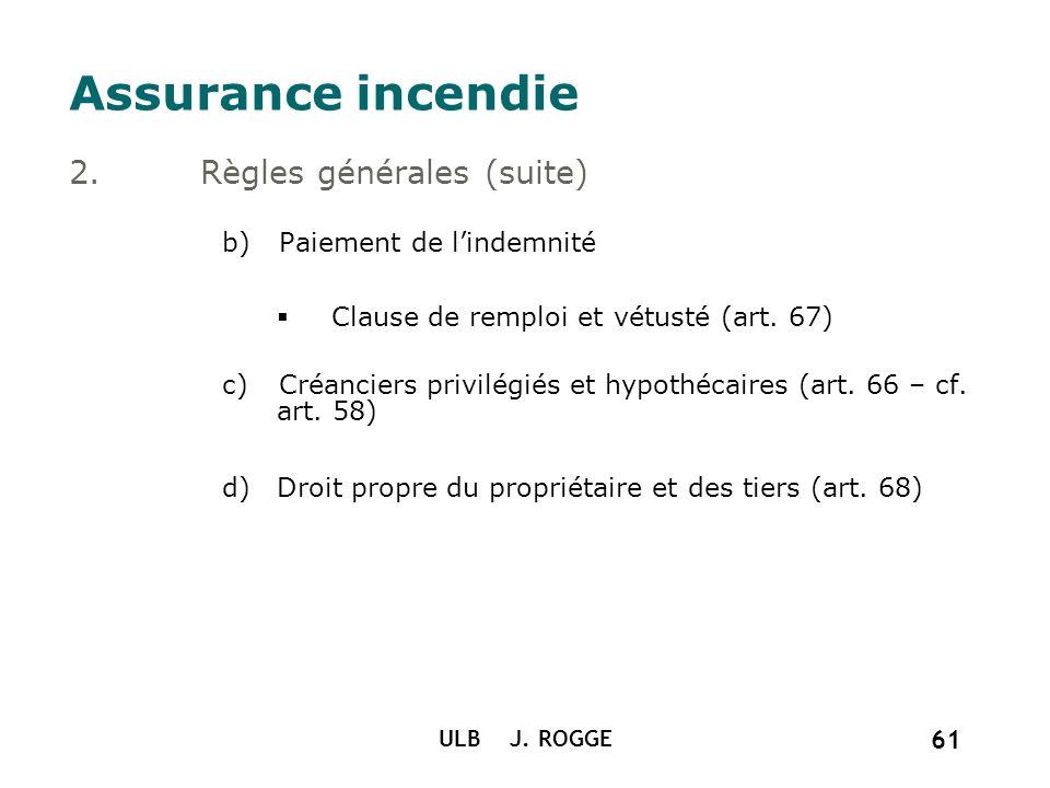 ULB J. ROGGE 61 Assurance incendie 2.Règles générales (suite) b)Paiement de lindemnité Clause de remploi et vétusté (art. 67) c)Créanciers privilégiés