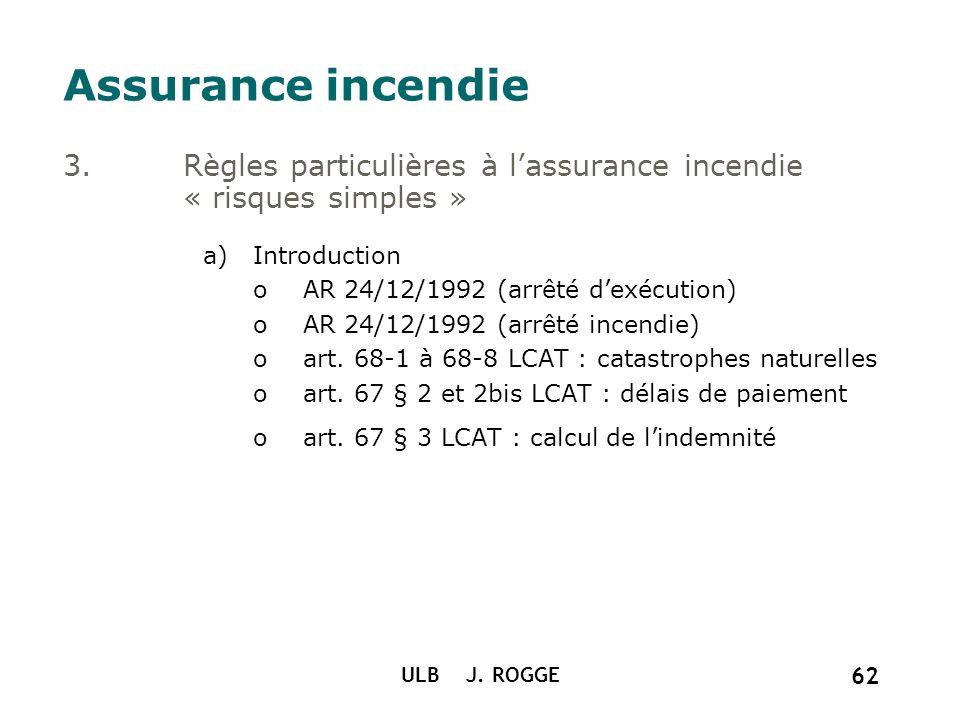 ULB J. ROGGE 62 Assurance incendie 3.Règles particulières à lassurance incendie « risques simples » a)Introduction oAR 24/12/1992 (arrêté dexécution)