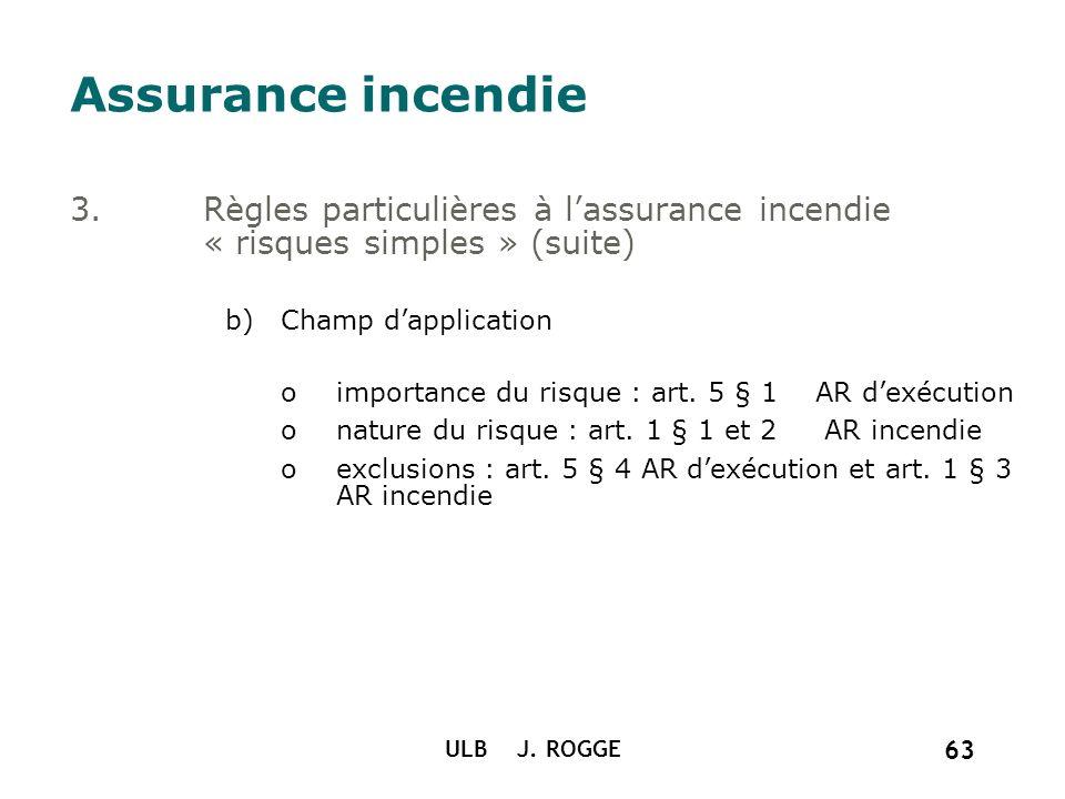 ULB J. ROGGE 63 Assurance incendie 3.Règles particulières à lassurance incendie « risques simples » (suite) b)Champ dapplication oimportance du risque