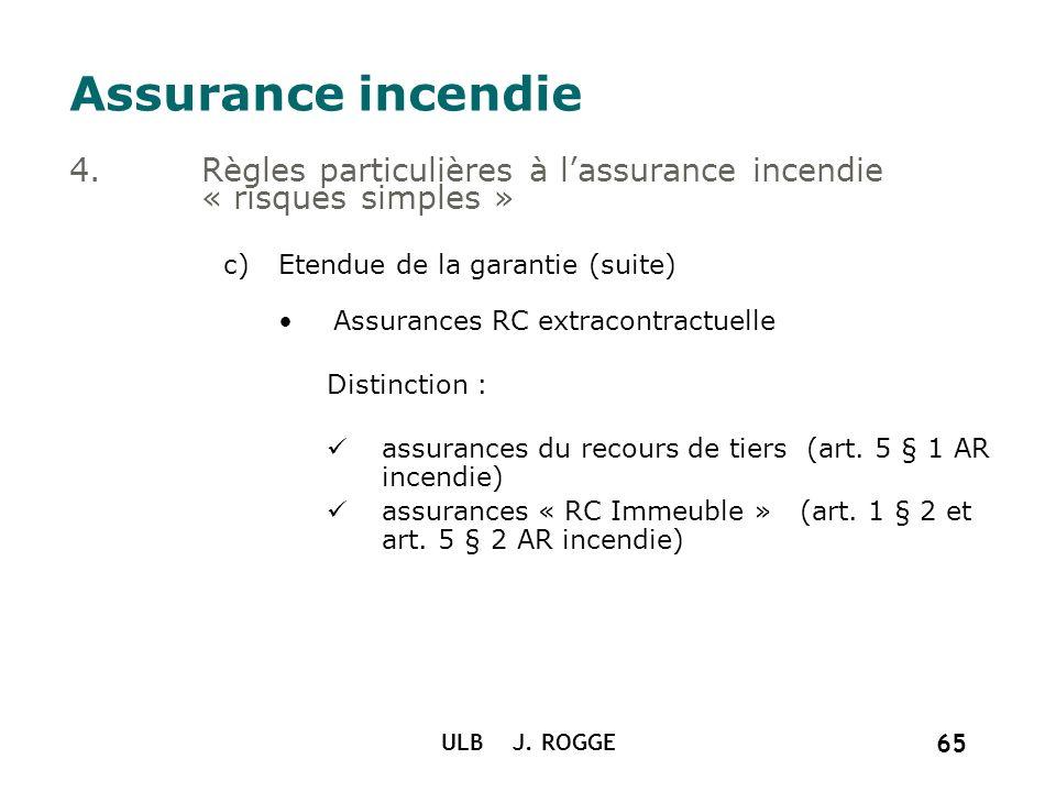 ULB J. ROGGE 65 Assurance incendie 4.Règles particulières à lassurance incendie « risques simples » c)Etendue de la garantie (suite) Assurances RC ext