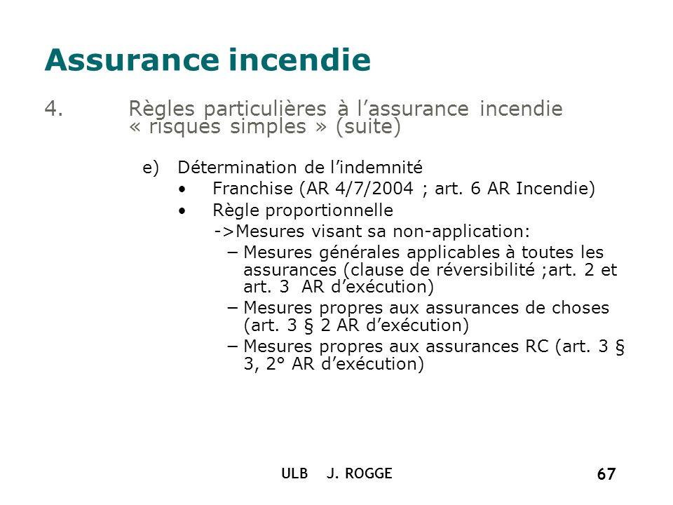 ULB J. ROGGE 67 Assurance incendie 4.Règles particulières à lassurance incendie « risques simples » (suite) e)Détermination de lindemnité Franchise (A
