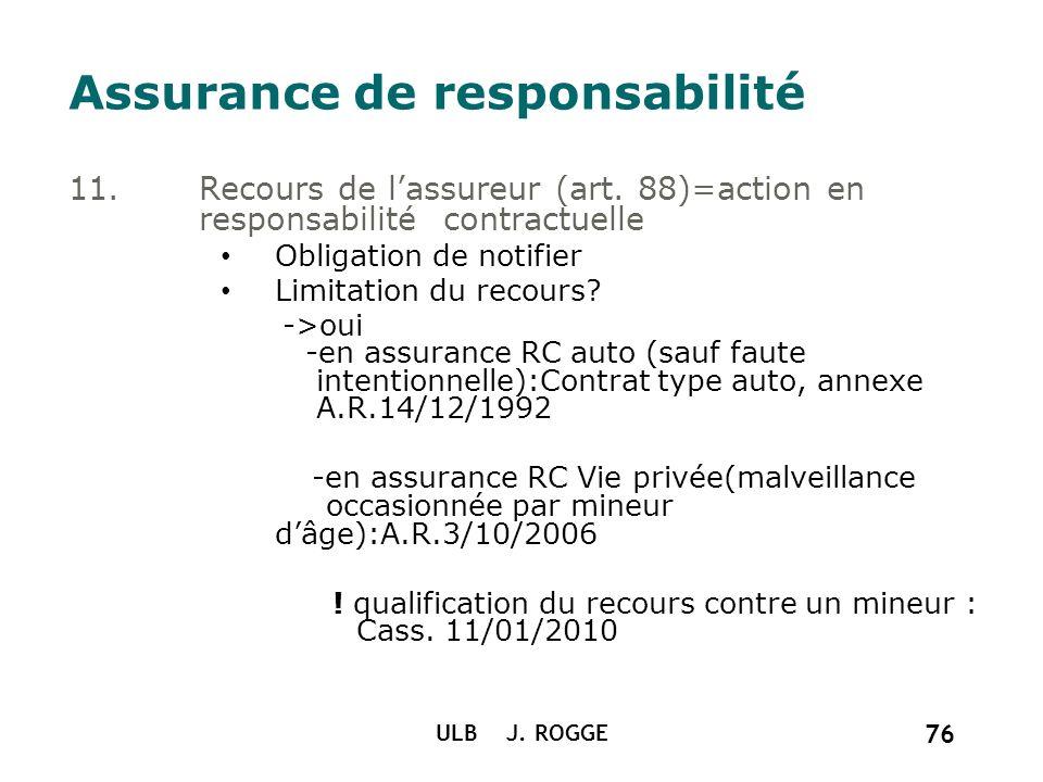 ULB J. ROGGE 76 Assurance de responsabilité 11. Recours de lassureur (art. 88)=action en responsabilité contractuelle Obligation de notifier Limitatio