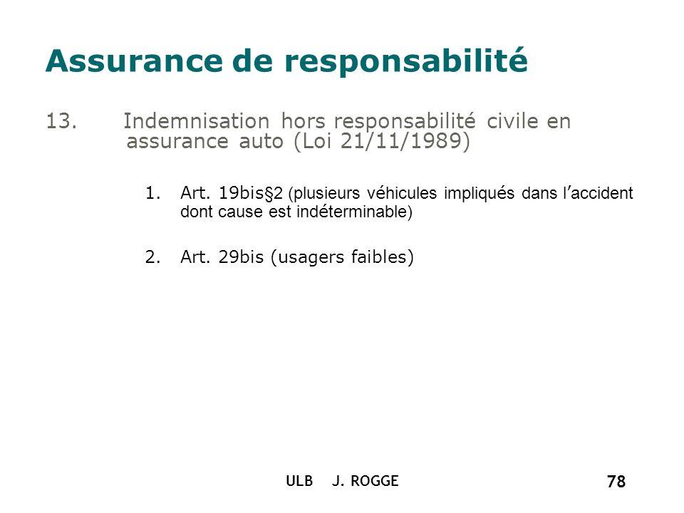 ULB J. ROGGE 78 Assurance de responsabilité 13. Indemnisation hors responsabilité civile en assurance auto (Loi 21/11/1989) 1.Art. 19bis §2 (plusieurs