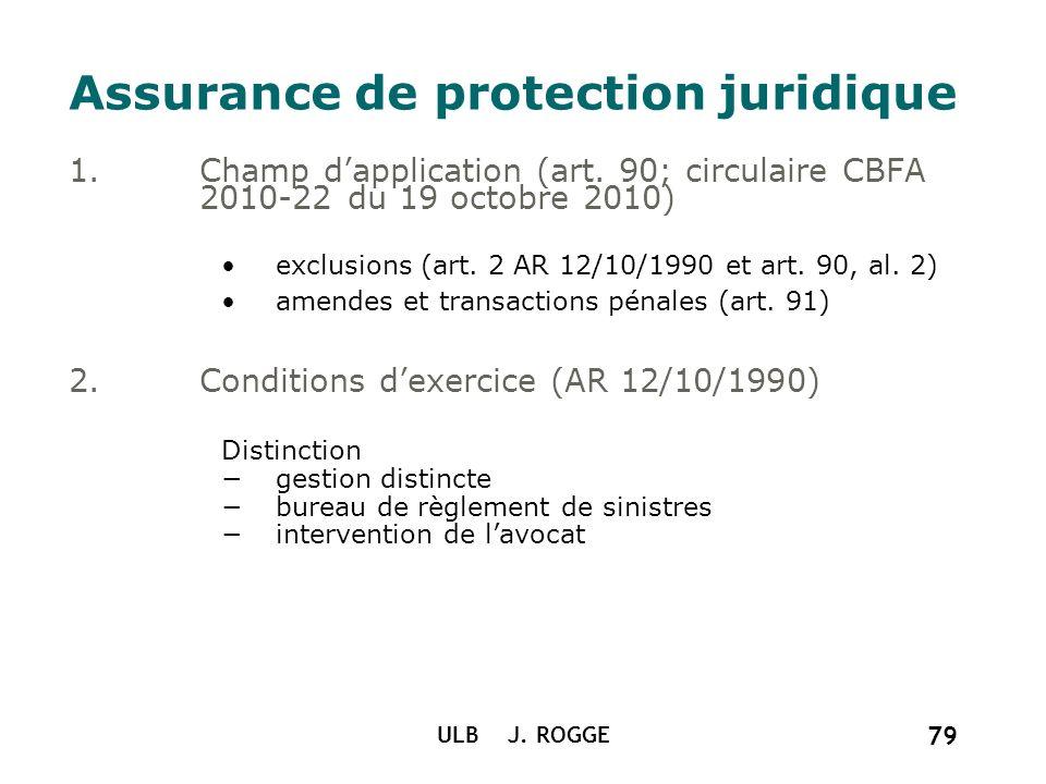 ULB J. ROGGE 79 Assurance de protection juridique 1.Champ dapplication (art. 90; circulaire CBFA 2010-22 du 19 octobre 2010) exclusions (art. 2 AR 12/