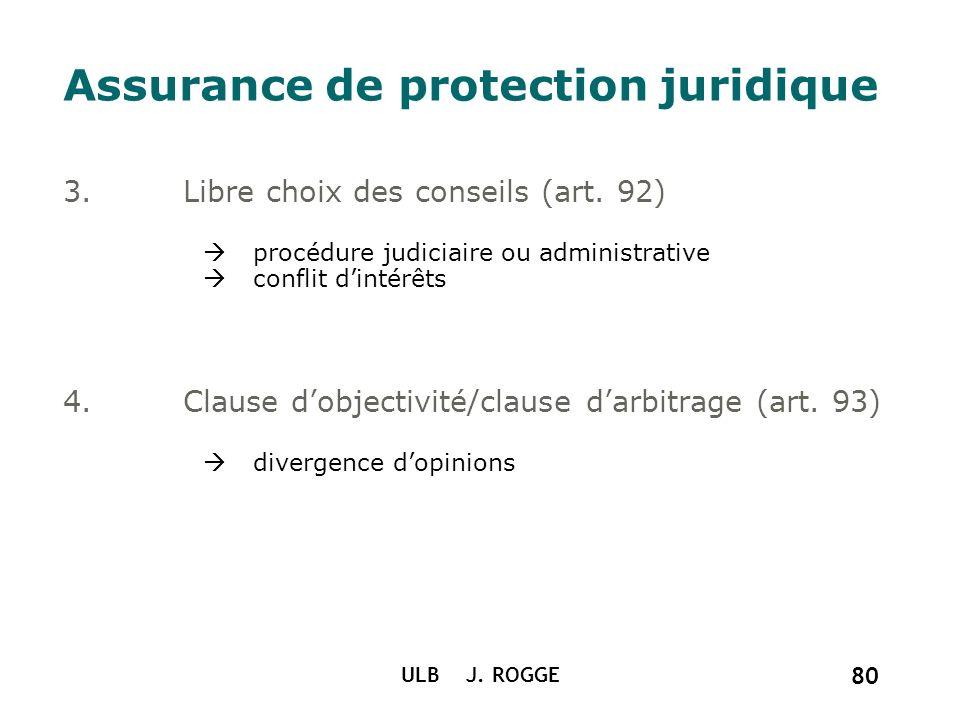 ULB J. ROGGE 80 Assurance de protection juridique 3.Libre choix des conseils (art. 92) procédure judiciaire ou administrative conflit dintérêts 4.Clau